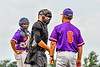 Cortland Crush Head Coach Bill McConnell (6) questions a call by the Home Plate Umpire against the Niagara Power in New York Collegiate Baseball League playoff action at Sal Maglie Stadium in Niagara Falls, New York on Sunday, July 28, 2019. Niagara won 12-6.