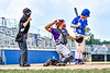 Home Plate calls a strike against Niagara Power Jack Rubenstein (10) as Cortland Crush Catcher Dylan Nolan (14) throws the ball back to the mound in New York Collegiate Baseball League playoff action at Sal Maglie Stadium in Niagara Falls, New York on Sunday, July 28, 2019. Niagara won 12-6.