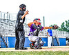 Home Plate calls a strike against Niagara Power batter as Cortland Crush Catcher Dylan Nolan (14) throws the ball back to the mound in New York Collegiate Baseball League playoff action at Sal Maglie Stadium in Niagara Falls, New York on Sunday, July 28, 2019. Niagara won 12-6.