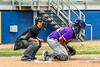 Cortland Crush Catcher Kam Holland (43) blocks a pitch in the dirt against the Niagara Power in New York Collegiate Baseball League playoff action at Sal Maglie Stadium in Niagara Falls, New York on Sunday, July 28, 2019. Niagara won 12-6.