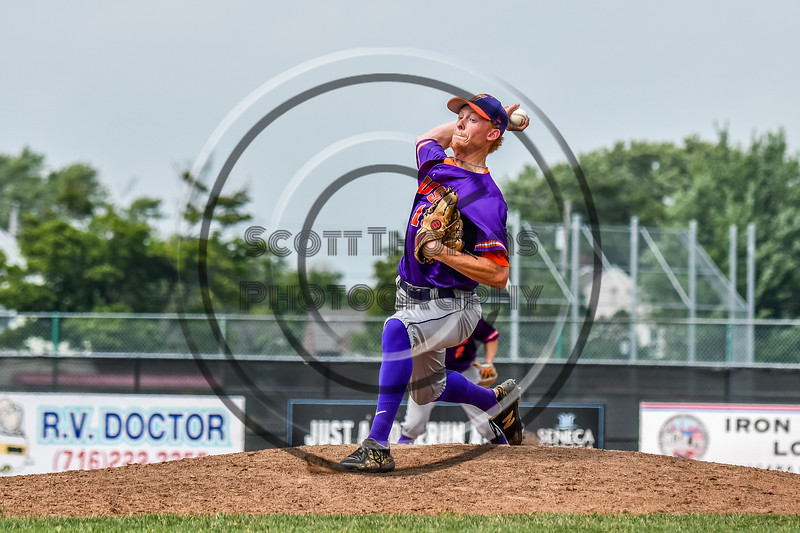 Cortland Crush Jonathan Triesler (19) pitching against the Niagara Power in New York Collegiate Baseball League playoff action at Sal Maglie Stadium in Niagara Falls, New York on Sunday, July 28, 2019. Niagara won 12-6.