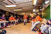 Cortland Crush Head Coach Bill McConnell (6) talking with his team in the Clubhouse before a New York Collegiate Baseball League Championship game against Niagara Power at Sal Maglie Stadium in Niagara Falls, New York on Sunday, July 28, 2019.