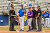 Cortland Crush Head Coach Bill McConnell (6) and Niagara Power Head Coach Arthur Stenberg go over ground rules with the Umpire team before a New York Collegiate Baseball League Championship game at Sal Maglie Stadium in Niagara Falls, New York on Sunday, July 28, 2019.