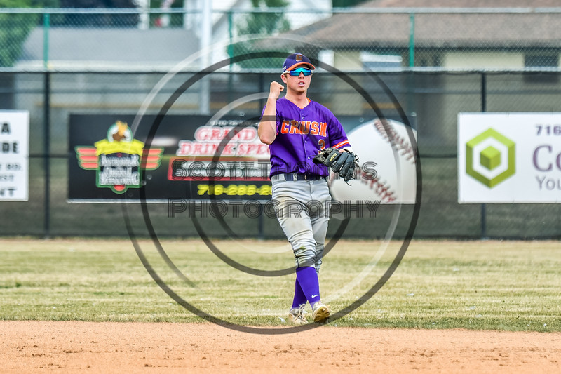 Cortland Crush Anthony Cieszko (3) celebrating his throw to First Base before the Umpire called the  Niagara Power runner safe in New York Collegiate Baseball League playoff action at Sal Maglie Stadium in Niagara Falls, New York on Sunday, July 28, 2019. Niagara won 12-6.