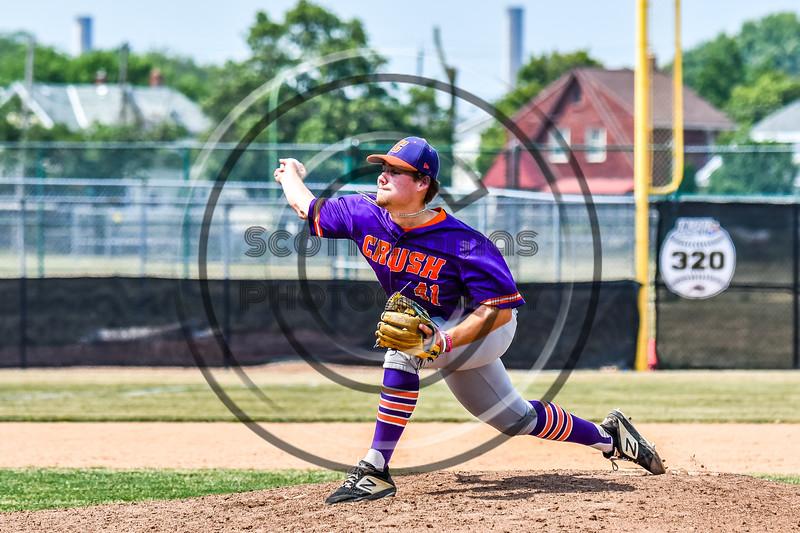 Cortland Crush Garrett Bell (41) pitching against the Niagara Power in New York Collegiate Baseball League playoff action at Sal Maglie Stadium in Niagara Falls, New York on Sunday, July 28, 2019. Niagara won 12-6.