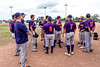 Cortland Crush Head Coach Bill McConnell (6) going over ground rules with his team before playing the Niagara Power in a New York Collegiate Baseball League Championship game at Sal Maglie Stadium in Niagara Falls, New York on Sunday, July 28, 2019.