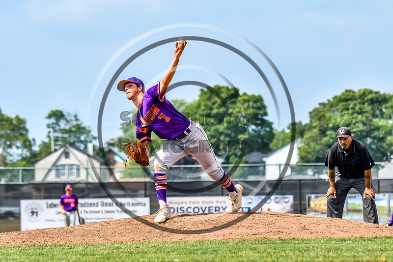 Cortland Crush Cregg Scherrer (7) pitching against the Niagara Power in New York Collegiate Baseball League playoff action at Sal Maglie Stadium in Niagara Falls, New York on Sunday, July 28, 2019. Niagara won 12-6.