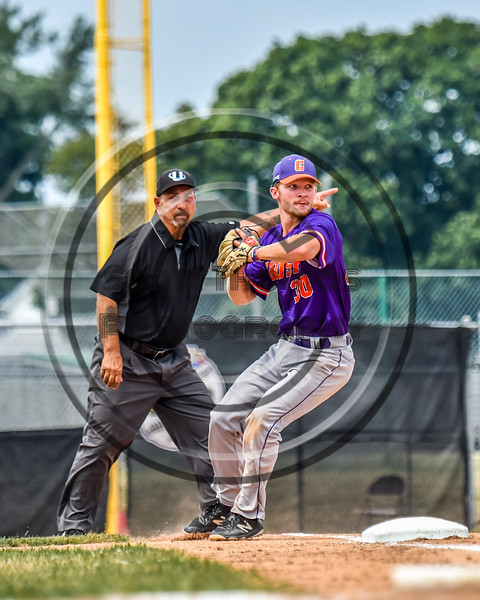 Cortland Crush Stephen Bennett (30) fields and throws the ball for an out against the Niagara Power in New York Collegiate Baseball League playoff action at Sal Maglie Stadium in Niagara Falls, New York on Sunday, July 28, 2019. Niagara won 12-6.