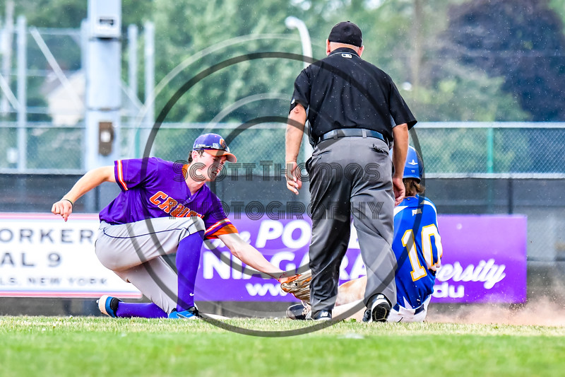 Cortland Crush Jack Lynch (2) tags Niagara Power Jack Rubenstein (10) out at Second Base in New York Collegiate Baseball League playoff action at Sal Maglie Stadium in Niagara Falls, New York on Sunday, July 28, 2019. Niagara won 12-6.