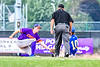 Cortland Crush Jack Lynch (2) tags Niagara Power Jack Rubenstein (10) out at Second Base in New York Collegiate Baseball League playoff action at Sal Maglie Stadium in Niagara Falls, New York on Sunday, July 28, 2019. Niagara won 12-6.