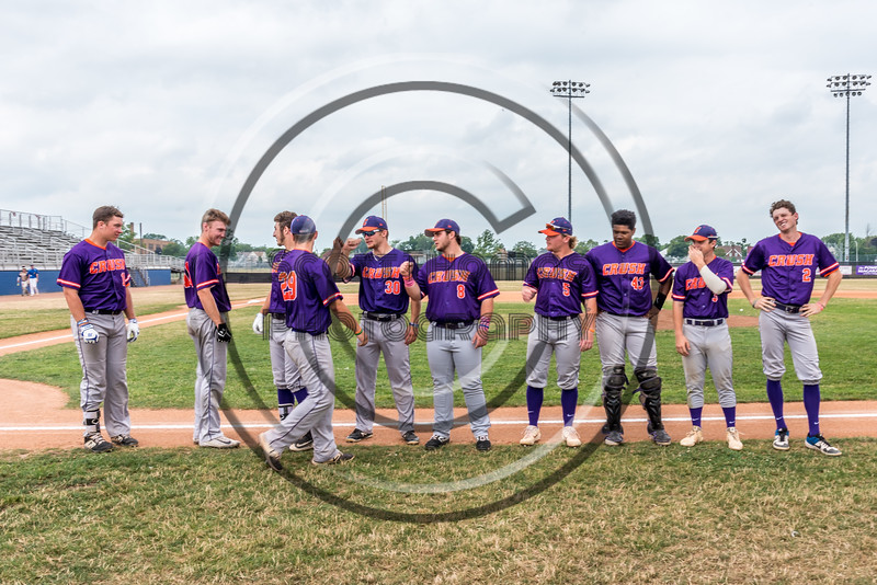 Cortland Crush starting lineup being introduced before playing the Niagara Power in a New York Collegiate Baseball League Championship game at Sal Maglie Stadium in Niagara Falls, New York on Sunday, July 28, 2019.