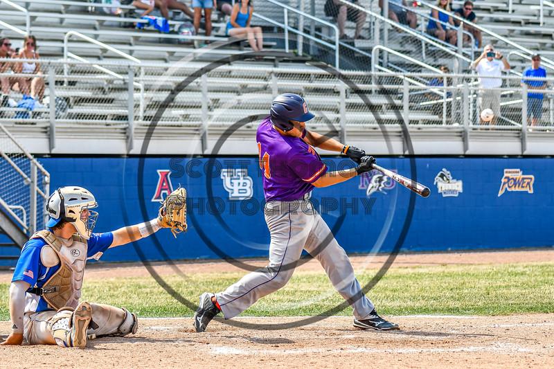 Cortland Crush Dylan Nolan (14) hits the ball against the Niagara Power in New York Collegiate Baseball League playoff action at Sal Maglie Stadium in Niagara Falls, New York on Sunday, July 28, 2019. Niagara won 12-6.