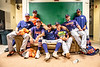 Cortland Crush players hanging out in the Clubhouse before a New York Collegiate Baseball League Championship game against the Niagara Power at Sal Maglie Stadium in Niagara Falls, New York on Sunday, July 28, 2019.
