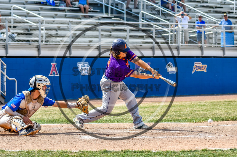 Cortland Crush Alex Babcock (33) hits the ball against the Niagara Power in New York Collegiate Baseball League playoff action at Sal Maglie Stadium in Niagara Falls, New York on Sunday, July 28, 2019. Niagara won 12-6.