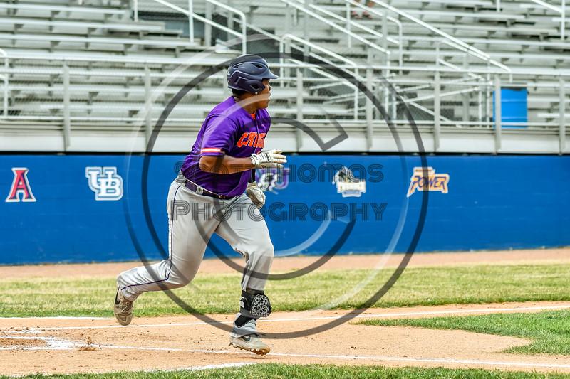 Cortland Crush Kam Holland (43) after hitting the ball against the Niagara Power in New York Collegiate Baseball League playoff action at Sal Maglie Stadium in Niagara Falls, New York on Sunday, July 28, 2019. Niagara won 12-6.