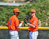 Cortland Crush Justice Welch (12) greets Kevin Rosengren (38) at the mound against the Albany Athletics in New York Collegiate Baseball League action at Gutchess Lumber Sports Complex in Cortland, New York on Sunday, June 6, 2021.