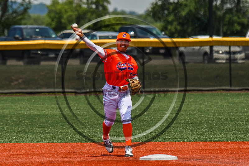 Cortland Crush Javier Rosa (3) warming up before playing the Albany Athletics in a New York Collegiate Baseball League game at Gutchess Lumber Sports Complex in Cortland, New York on Sunday, June 6, 2021.