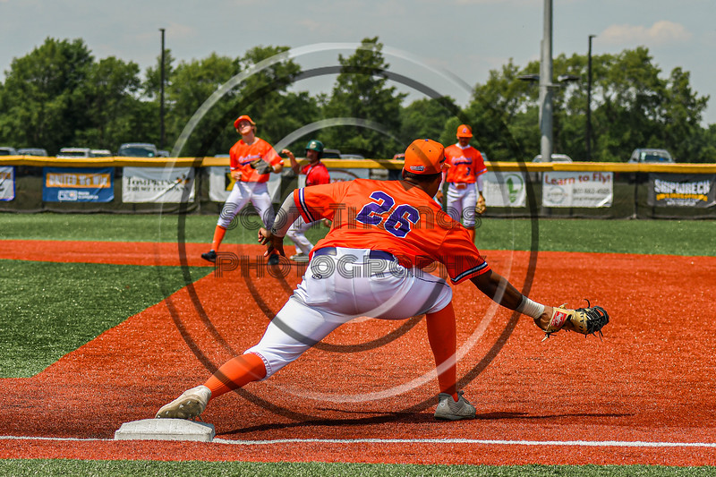 Cortland Crush Alexis Castillo (26) catches the ball for a force out at First Base against the Albany Athletics in New York Collegiate Baseball League action at Gutchess Lumber Sports Complex in Cortland, New York on Sunday, June 6, 2021.