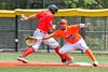 Cortland Crush First Baseman Alexis Castillo (26) reaches for the ball against the Albany Athletics in New York Collegiate Baseball League action at Gutchess Lumber Sports Complex in Cortland, New York on Sunday, June 6, 2021.