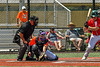 Cortland Crush Catcher Matthew Ward (20) diggong out the ball against the Albany Athletics in New York Collegiate Baseball League action at Gutchess Lumber Sports Complex in Cortland, New York on Sunday, June 6, 2021.
