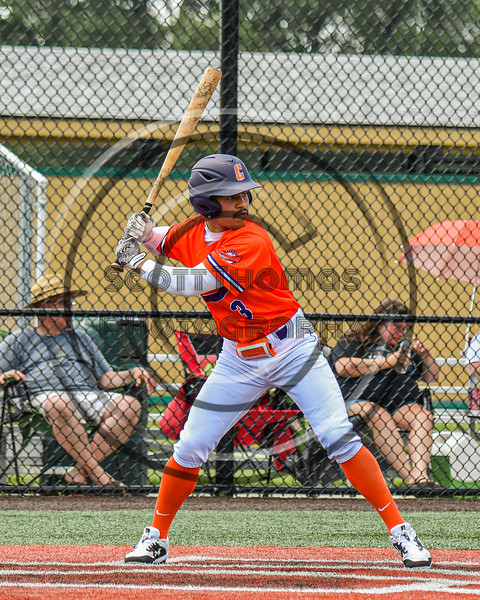 Cortland Crush Javier Rosa (3) at bat against the Albany Athletics in New York Collegiate Baseball League action at Gutchess Lumber Sports Complex in Cortland, New York on Sunday, June 6, 2021.