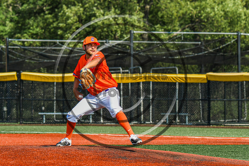 Cortland Crush Gabriel Garcia (43) pitching against the Albany Athletics in New York Collegiate Baseball League action at Gutchess Lumber Sports Complex in Cortland, New York on Sunday, June 6, 2021.