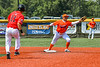 Cortland Crush Javier Rosa (3) catches the ball for a force out against the Albany Athletics in New York Collegiate Baseball League action at Gutchess Lumber Sports Complex in Cortland, New York on Sunday, June 6, 2021.