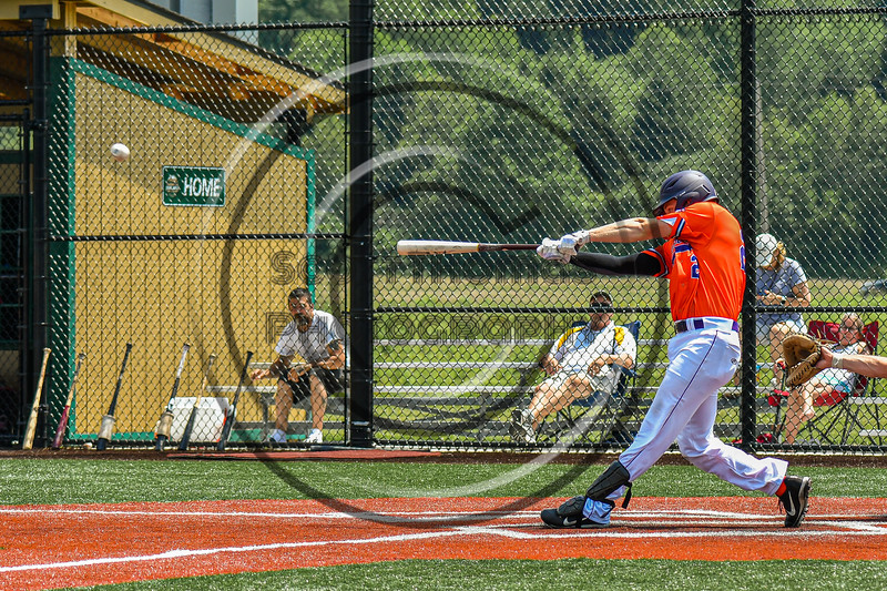Cortland Crush Matthew Ward (20) hits the ball against the Albany Athletics in New York Collegiate Baseball League action at Gutchess Lumber Sports Complex in Cortland, New York on Sunday, June 6, 2021.