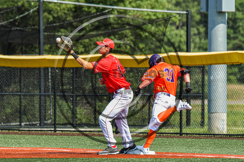Cortland Crush Wyatt Palmer (31) seemingly beats the throw but was called out at First Base against the Albany Athletics in New York Collegiate Baseball League action at Gutchess Lumber Sports Complex in Cortland, New York on Sunday, June 6, 2021.