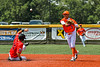 Cortland Crush Javier Rosa (3) throws the ball to First after a force out at Second against the Albany Athletics in New York Collegiate Baseball League action at Gutchess Lumber Sports Complex in Cortland, New York on Sunday, June 6, 2021.