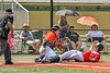 Cortland Crush Catcher Matthew Ward (20) tags out the Albany Athletics runner in New York Collegiate Baseball League action at Gutchess Lumber Sports Complex in Cortland, New York on Sunday, June 6, 2021.