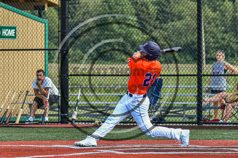 Cortland Crush Tyler Beard (21) after hitting the ball against the Albany Athletics in New York Collegiate Baseball League action at Gutchess Lumber Sports Complex in Cortland, New York on Sunday, June 6, 2021.