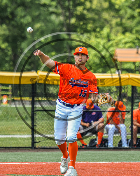 Cortland Crush Rob Ciulla (13) throwing the ball against the Albany Athletics in New York Collegiate Baseball League action at Gutchess Lumber Sports Complex in Cortland, New York on Sunday, June 6, 2021.