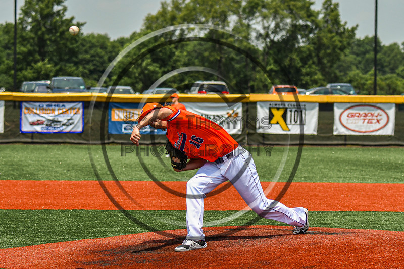 Cortland Crush Pitcher Jake Albro (16) warming up before playing the Albany Athletics in a New York Collegiate Baseball League game at Gutchess Lumber Sports Complex in Cortland, New York on Sunday, June 6, 2021.