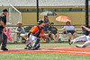 Cortland Crush Catcher Matthew Ward (20) with the ball ready to tag out the Albany Athletics runner in New York Collegiate Baseball League action at Gutchess Lumber Sports Complex in Cortland, New York on Sunday, June 6, 2021.