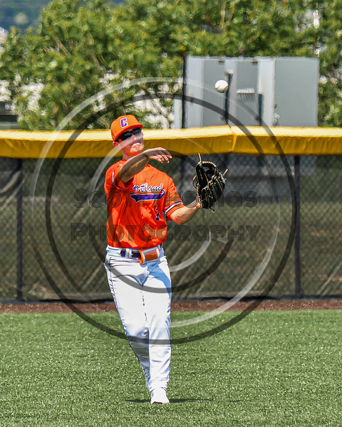 Cortland Crush Jason Boule (7) throwing the ball against the Albany Athletics in New York Collegiate Baseball League action at Gutchess Lumber Sports Complex in Cortland, New York on Sunday, June 6, 2021.
