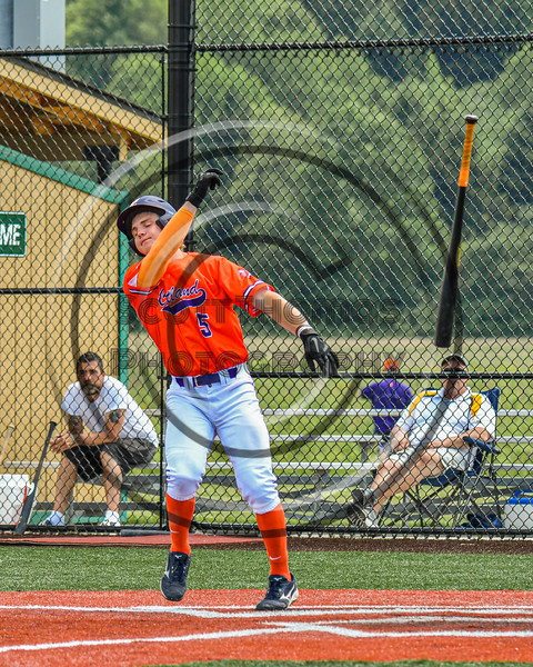 Cortland Crush Zach Marriott (5) tosses his bat after being walked by the Albany Athletics Pitcher in New York Collegiate Baseball League action at Gutchess Lumber Sports Complex in Cortland, New York on Sunday, June 6, 2021.