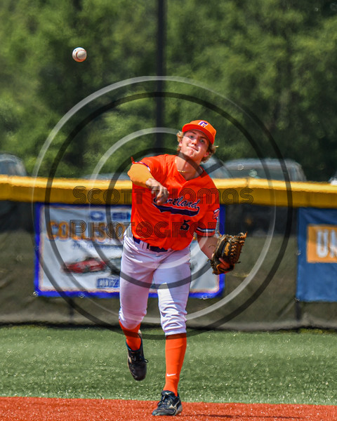 Cortland Crush Zach Marriott (5) throwing the ball against the Albany Athletics in New York Collegiate Baseball League action at Gutchess Lumber Sports Complex in Cortland, New York on Sunday, June 6, 2021.