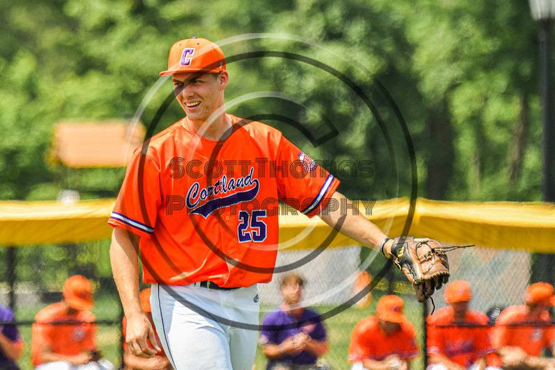 Cortland Crush Pitcher Carter Kessinger (25) on the mound against the Albany Athletics in New York Collegiate Baseball League action at Gutchess Lumber Sports Complex in Cortland, New York on Sunday, June 6, 2021.