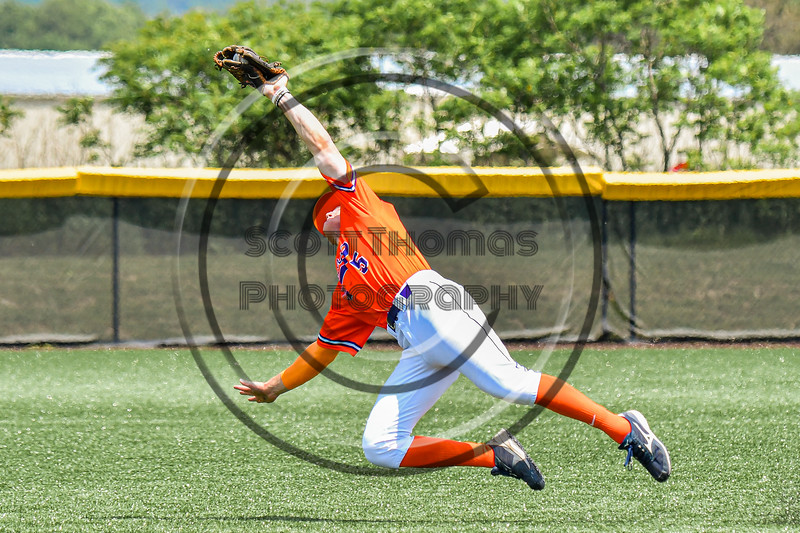 Cortland Crush Zach Marriott (5) catches the ball for an out against the Albany Athletics in New York Collegiate Baseball League action at Gutchess Lumber Sports Complex in Cortland, New York on Sunday, June 6, 2021.