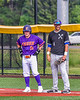 Cortland Crush Wyatt Palmer (31) at First Base with Sherrill Silversmiths Timothy Mott (4) in New York Collegiate Baseball League action at Gutchess Lumber Sports Complex in Cortland, New York on Monday, June 7, 2021. Cortland won 10-2.