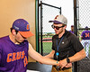Cortland Crush Athletic Trainer Anthony Spinelli working on Crush Tyler Beard (21) at Gutchess Lumber Sports Complex in Cortland, New York on Monday, June 7, 2021.