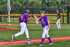 Cortland Crush Manager Bill McConnell congratulates Lawrence Hamilton (34) on his Home Run against the Sherrill Silversmiths in New York Collegiate Baseball League action at Gutchess Lumber Sports Complex in Cortland, New York on Monday, June 7, 2021. Cortland won 10-2.