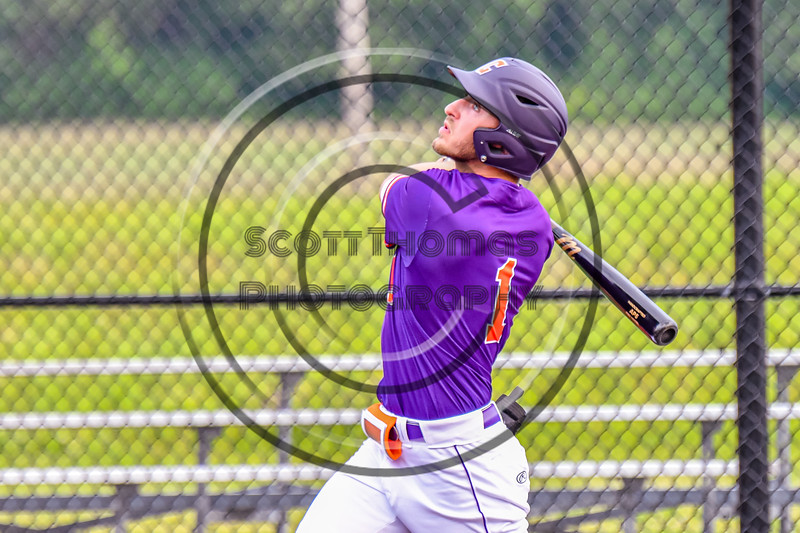 Cortland Crush Nicholas Pastore (1) after hitting the ball against the Sherrill Silversmiths in New York Collegiate Baseball League action at Gutchess Lumber Sports Complex in Cortland, New York on Monday, June 7, 2021. Cortland won 10-2.