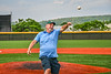 Cortlandville Town Supervisor Tom Williams throws out the first pitch before Cortland Crush played the Sherrill Silversmiths in a New York Collegiate Baseball League game at Gutchess Lumber Sports Complex in Cortland, New York on Monday, June 7, 2021.