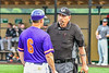 Cortland Crush Manager Bill McConnell talking with the Umpire during a New York Collegiate Baseball League game at Gutchess Lumber Sports Complex in Cortland, New York on Monday, June 7, 2021. Cortland won 10-2.