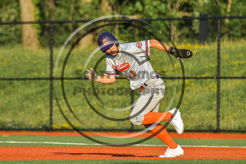 Cortland Crush Nicholas Pastore (1) running the bases against the Syracuse Spartans in New York Collegiate Baseball League action at OCC Turf Field in Syracuse, New York on Wednesday, June 9, 2021. Spartans won 7-5.