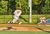 Cortland Crush Justice Welch (12) throwing the ball to First Base against the Syracuse Spartans in New York Collegiate Baseball League action at OCC Turf Field in Syracuse, New York on Wednesday, June 9, 2021. Spartans won 7-5.