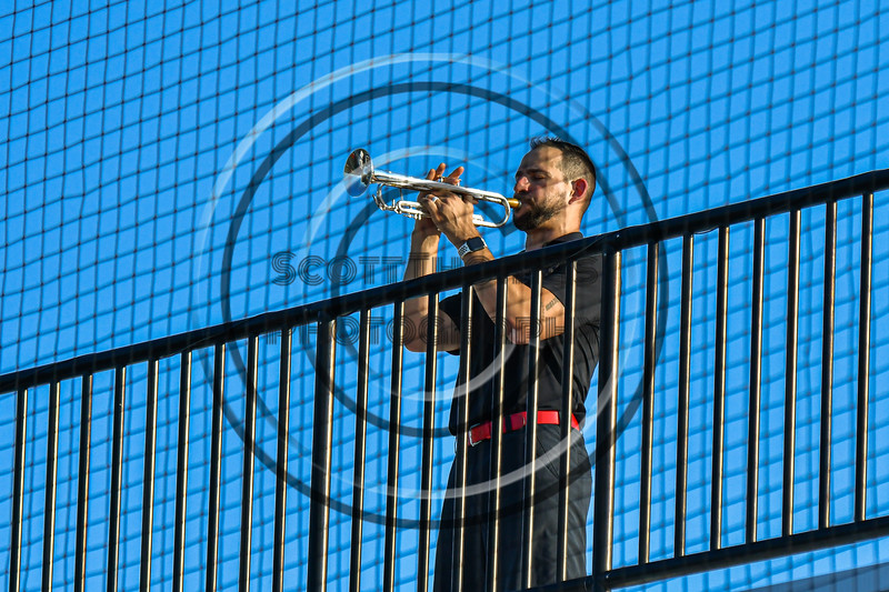 Trumpeter playing the National Anthem before the Cortland Crush played the Syracuse Spartans in a New York Collegiate Baseball League game at OCC Turf Field in Syracuse, New York on Wednesday, June 9, 2021.