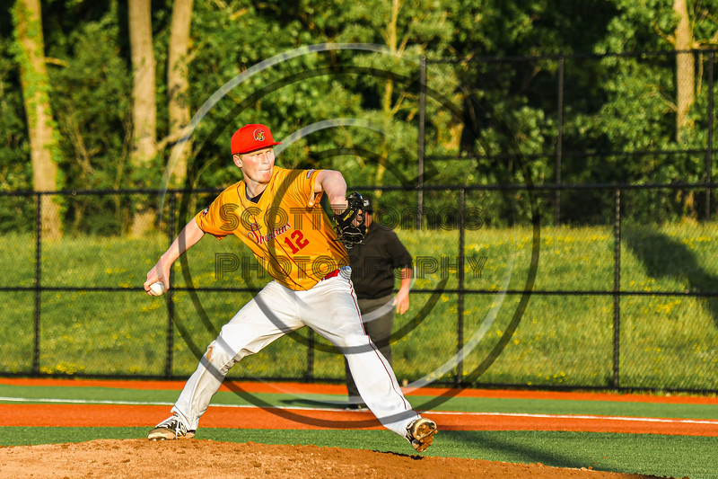 Cortland Crush Eddie Rosemont (12) pitching against the Syracuse Spartans in New York Collegiate Baseball League action at OCC Turf Field in Syracuse, New York on Wednesday, June 9, 2021. Spartans won 7-5.